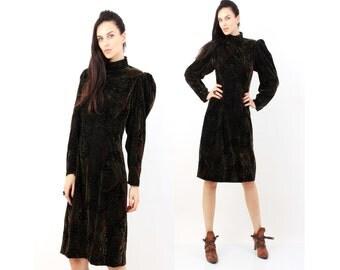 80s Avant Garde Dress /  Brown Moss / Big Shoulder Dress / Abstract Dress / Large Dress / Long Sleeve Dress