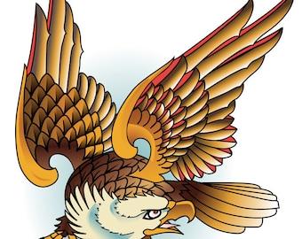Colorful Eagle Cross Stitch Pattern Aida 14. ct cloth