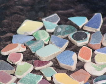 30ct Assorted Colors 100% Genuine Ocean Tumbled Sea Glass Pottery Tiles from the Monterey Bay