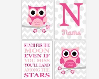 Baby Girl Nursery Wall Art Print Pink Gray Owl Personalize Art Girl Room Wall Art Nursery Wall Decor Baby Girl Nursery Wall Decor Moon Stars
