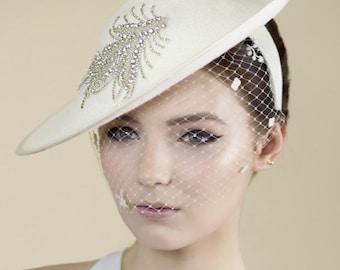 Bridal Hat, Wedding Hatinator, Ivory Birdcage Brides Hat with Rhinestone Trim - Vega