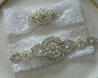 White Wedding Garter,Bridal Garter,Pearl And Rhinestone Garter, White Stretch Garter,Garter set