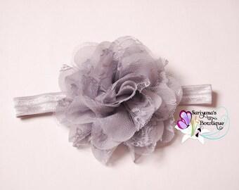 Gray Silver Chiffon Lace Flower Headband, Lace Headband, Flower Clip - Baby Girl Toddler Woman Vintage - SB-075b