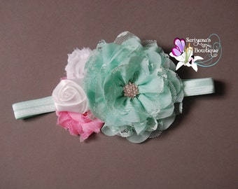 Mint Green Pink White Flower Feather Pearl Rhinestone Headband, Flower Girl, Baby Toddler Girl Woman - SB-001RS