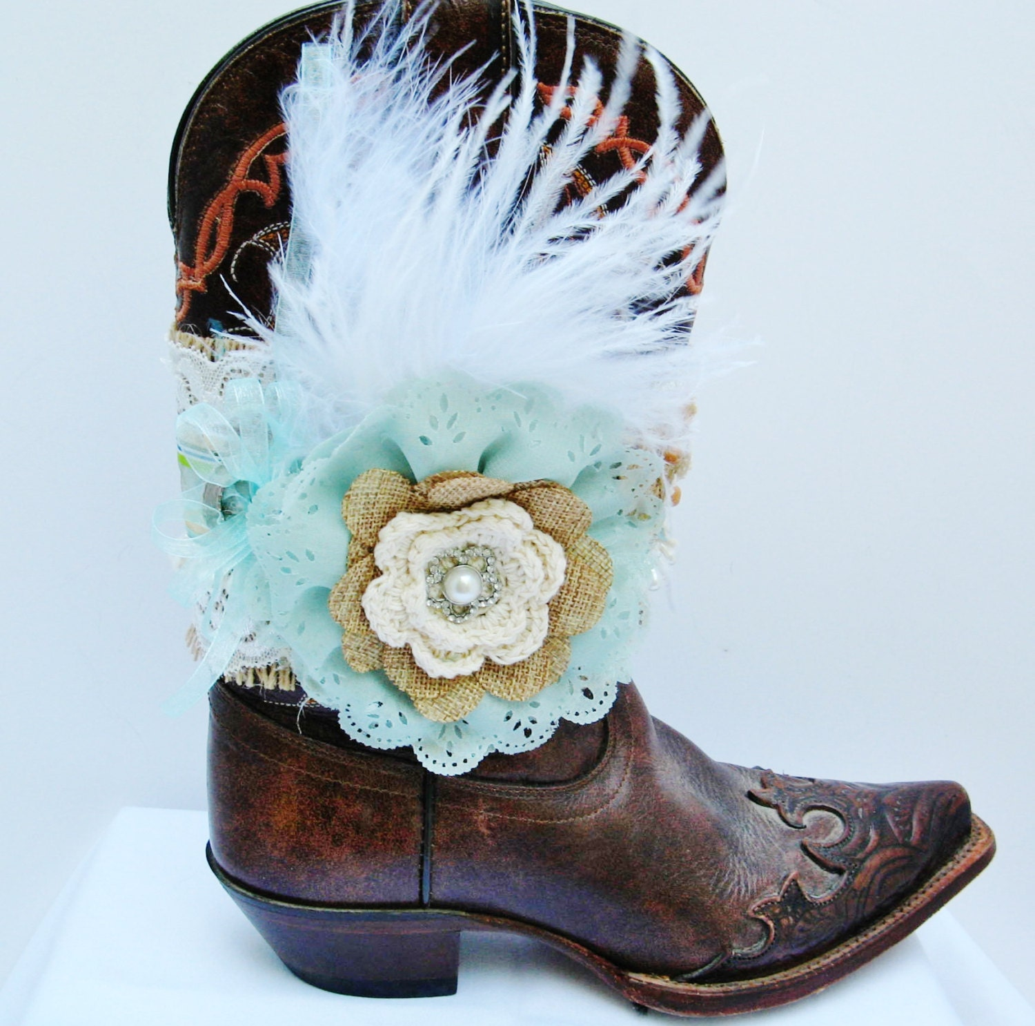 Aqua Flower Cowgirl Boot Bracelet Burlap Lace and Feathers