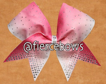 Pink to White Ombre Rhinestone Cheer Bow