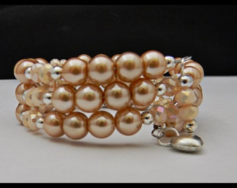 Champagne Glass Pearls and Opaque Pink Round Glass Crystals Memory Wire Bracelet.