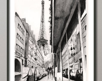 Eiffel Tower Paris Painting, Watercolor, Poster France, Giclee print , Modern wall art