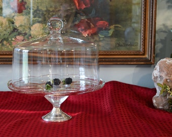 Crystal Cake Keeper - Sterling Base Cake Plate - Blow Glass Cake Dome - Scalloped Edge Pedestal Base Cake Plate - Large Cake Dome