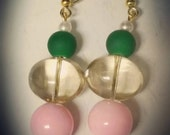 Sweet Nothings-Handmade pink glass bead, Matte green bead, and white acrylic pearl drop earrings. AKA inspired. Alpha Kappa Alpha.