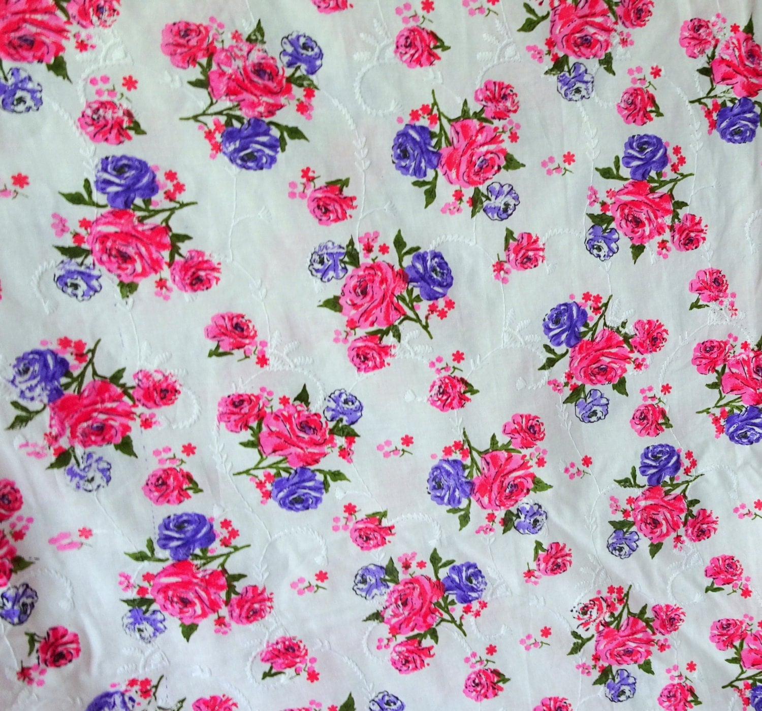 Sale embroidered fabric pink rose print cotton hakoba