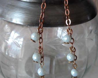 Green/Blue Faceted Shell Pearl Drop Earrings