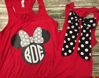 Minnie Mouse Racerback Monogrammed Tank WITH BOW  - Vinyl -  Bow - Disney Monogram Tank - Disney Shirt - Glitter