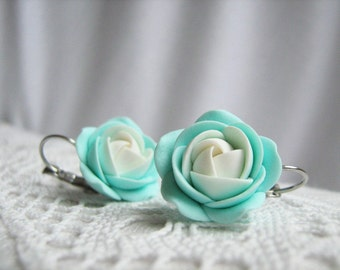 Polymer clay earrings - Mentol Mint White rose flower leverback bridal bridesmaid earrings