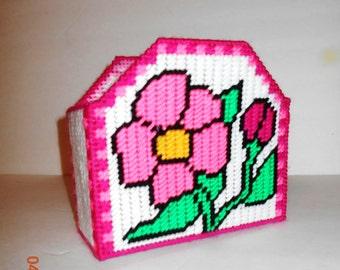 Flower Napkin holder, card holder, plastic canvas, kitchen