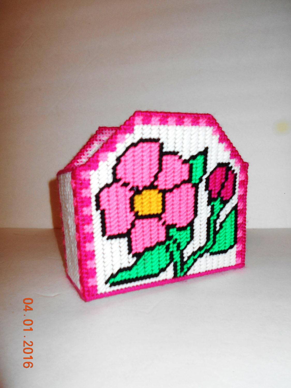 flower napkin holder card holder plastic canvas kitchen