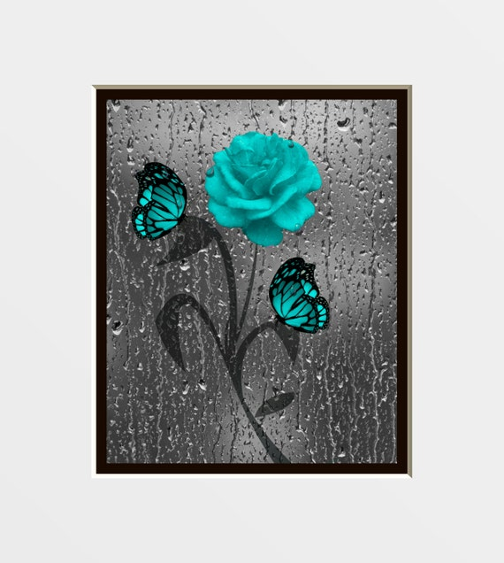 Teal Gray Rose Butterfly Decorative Bathroom By