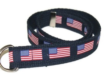 American Flag Belt- Adjustable D-Ring