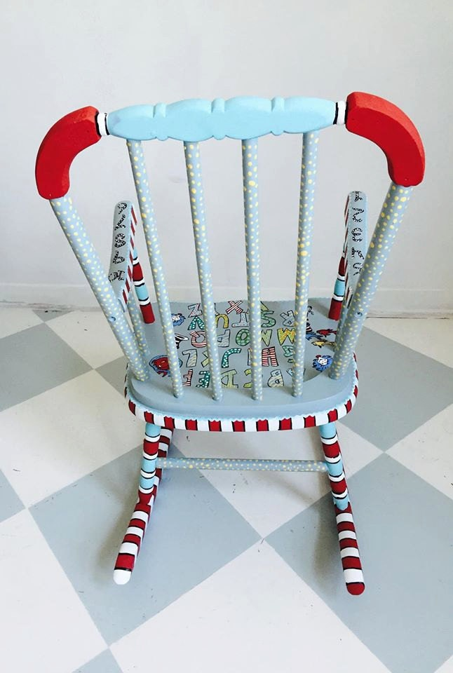 Personalized Child Rocking Chair Painted Kids by WhimsyBurd