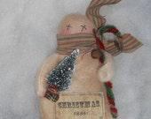 1886 snowman ornie,prim snowman,primitive Christmas,FAAP,OFG