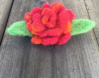 Red-Orange Wool Felted Rose Brooch