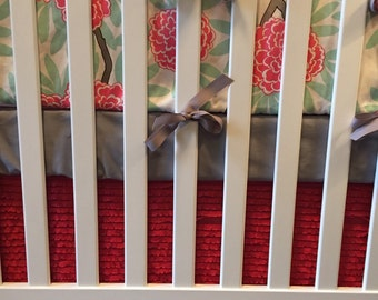 Mint and Coral Crib bedding Baby Bedding Crib Set- Caitlin Wilson - Bumpers/sheet/skirt- Mint Fleur Chinoise and Coral Floral