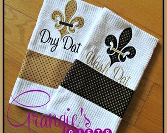 Set of Two Black and Gold Fleur de Lis Wash and Dry Dat Kitchen Towels