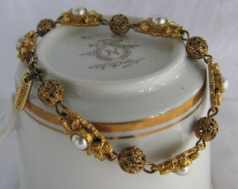 Ornate and Detailed FLORENZA Tagged Bracelet, Gold Cage Beads with Pearls, Mid Century