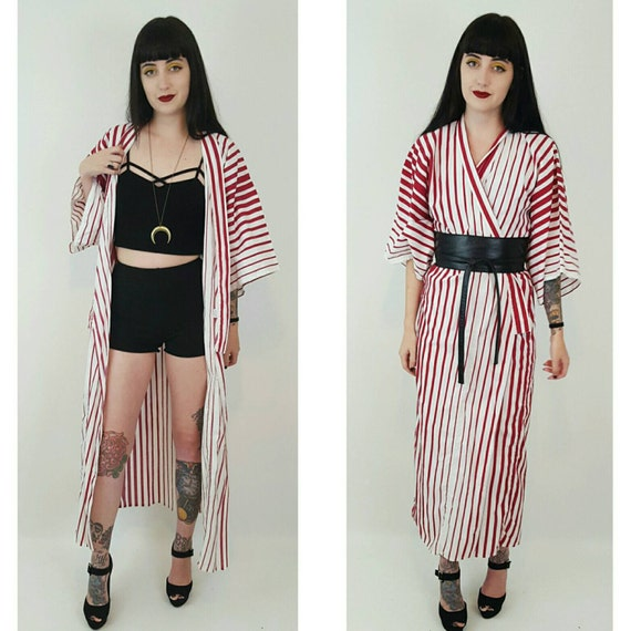 Authentic Japanese Striped Cotton Kimono - Red and White Vertical Stripe Long Kimono - One Size Made in Japan Lingerie Bed Jacket