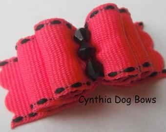 Dog Bow 5/8- Shocking Pink with Black Saddlestitch