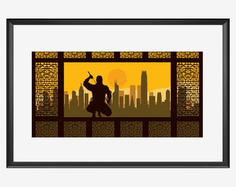 Hong Kong Skyline print, Hong Kong print, Hong Kong poster, ninja print, ninja art, ninja poster, The ninja, Ninja, Shinobi, karate print