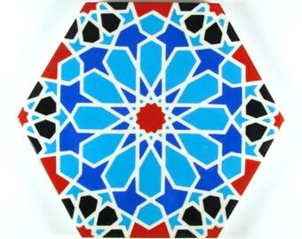 Hand Painted Moroccan Tiles - Blue and White Ceramic Accent Tiles - Decorative Tiles  - Backsplash Tiles - Kitchen Tiles - Ceramic Tiles