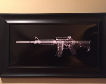 AR15  CAT scan gun print - ready to frame