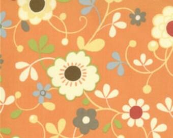 Various flowers on orange background Freebird quilting fabric 32241-13