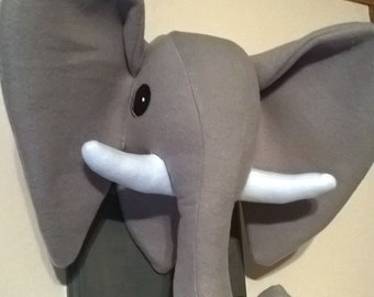 Gray Stuffed Elephant Head / Faux Taxidermy / Elephant decor