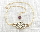 Lotus Anklet, Yoga Jewelry, Lotus Flower, Gold Anklet for Women, Flower Cutout, Ankle Bracelet Boho, A0073