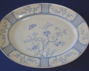 1878 English Blue Transferware Platter  T. Furnival