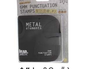 6 mm Punctuation Metal Stamp Set with Black Case - Beadsmith brand - Metal Elements - Question Mark - Exclamation