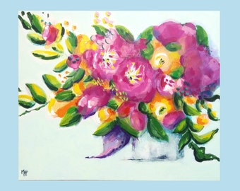 "Original Flowers Painting, ""Claudia"", Floral Wall Decor, Flower Art, Still Life, Purple Flowers, From an Artist, Flower Paintings"