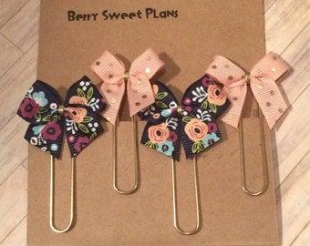 Florals & Dots - Set of 4 Planner Clips / Bookmarks