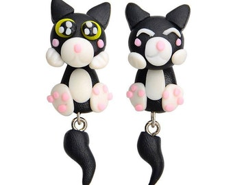Black Cat Earrings Polymer Clay Hand Made 3D Black/White