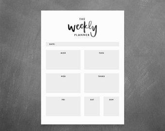 The Weekly Planner Printable // Blog Planner, Weekly Organizer, Desk Organizer, Hand Lettering, Minimalist Agenda, Instant Download