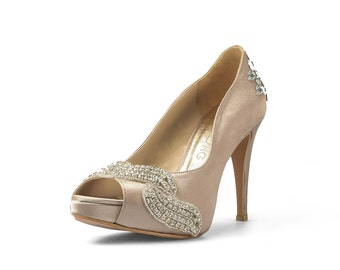 Covet Dark Champagne Satin Heel with Crystals Applique, Dark Champagne Peep Toe Pumps with Crystals