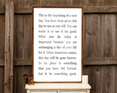 This Is The Beginning Of A New Day - Family Sign - Wood Sign
