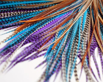 20 Real Feather Hair Extensions : B-Grade Mix #016 + Rings/Loop