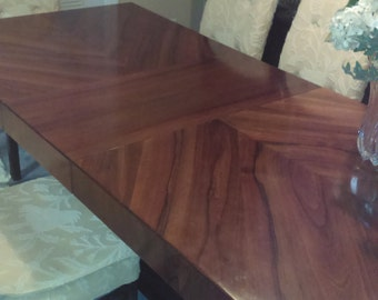Oiled Walnut Italian Mid-Century Modern Dining Table with one leaf