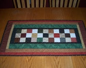 """Quilted Table Runner, 19-1/2"""" wide x 37"""" long, Country Primitive Colors, Cotton, Table Mat, Runner, Home Decor, Gifts for Her, FAAP, MDCFAAP"""