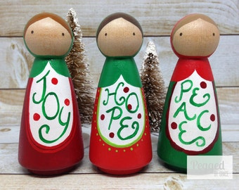 Christmas Babushka Peg Doll Set