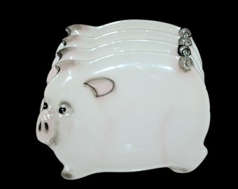 Vintage Set Of Four Ceramic Pig Plates