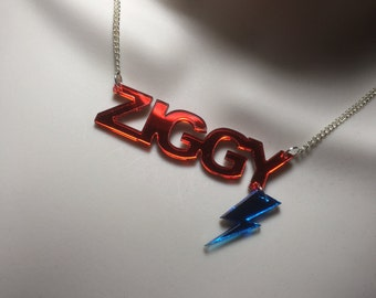 red mirror Acrylic 'ZIGGY'..with blue mirror hanging FLASH..BOWIE tribute necklace